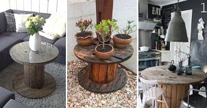 Carretéis de madeira na decoração: Aprenda como reutilizá-los