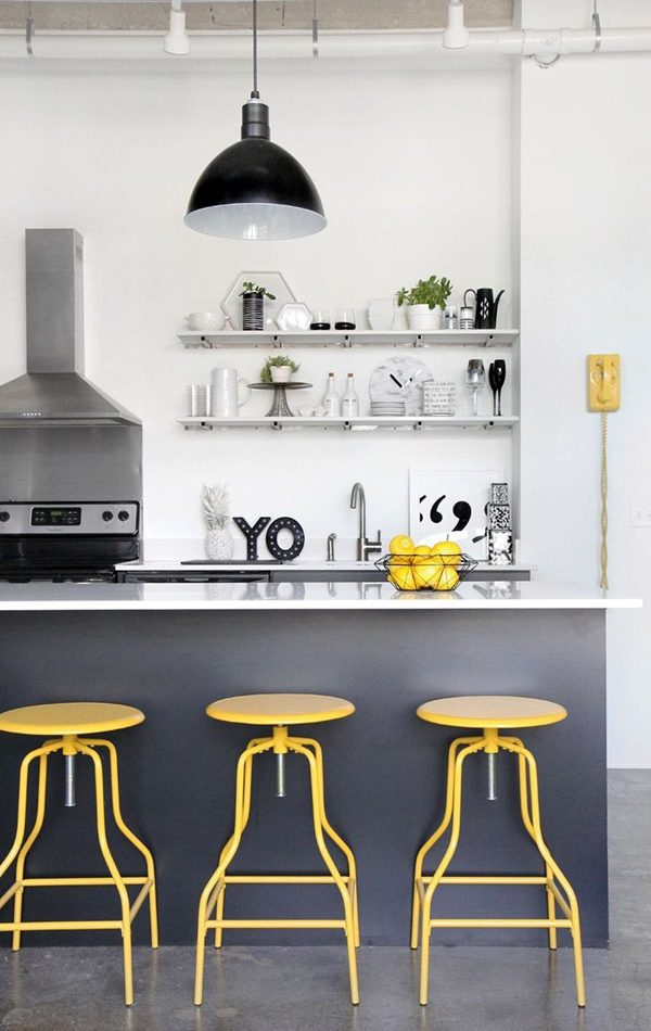 amarelo e prata na decoração