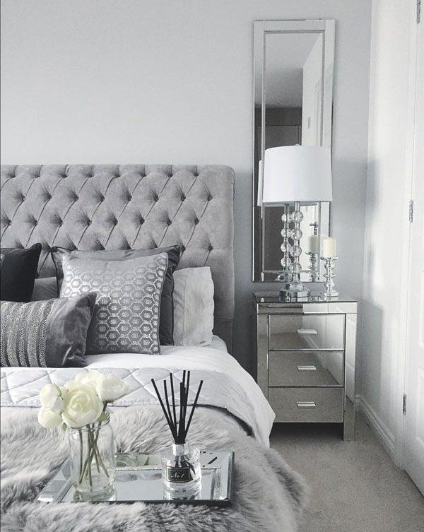 quarto com decoração prata
