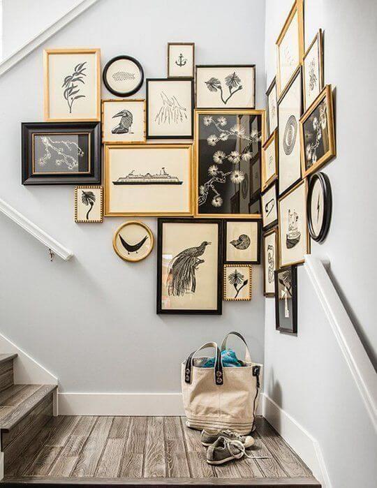 gallerywall quadros de diferentes tamanhos