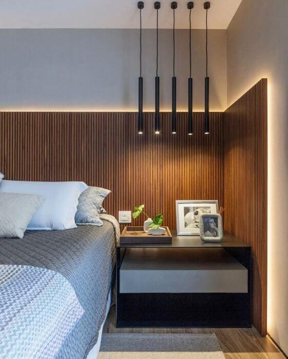 quarto rústico com madeira moderno
