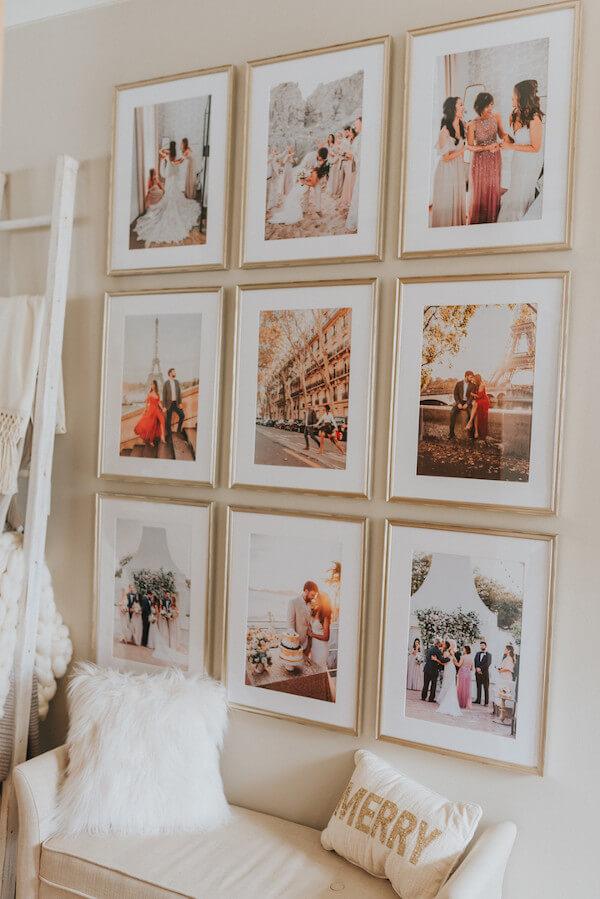 quadros alinhados gallery wall