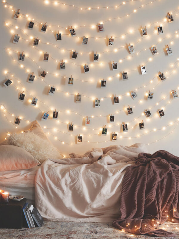 mural de fotos com luminárias tumblr