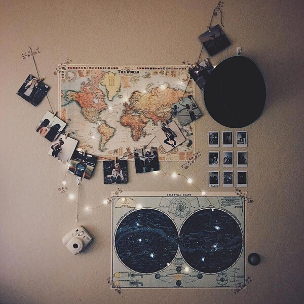 decoração tumblr no quarto
