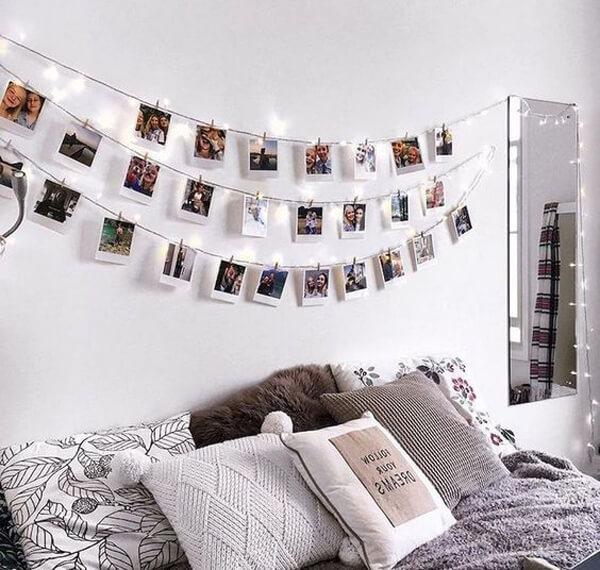 mural de fotos na decoração de quarto tumblr