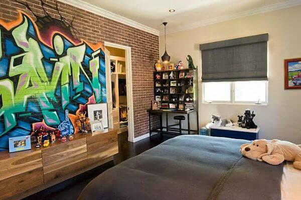 arte com grafite decoração quarto