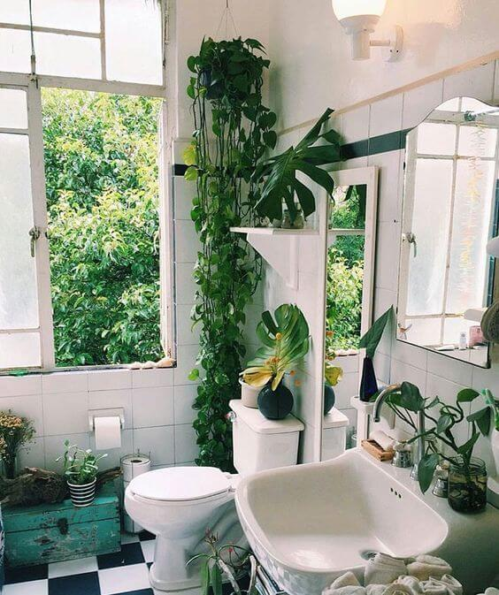 banheiro com plantas verdes