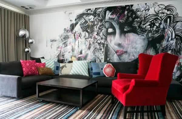arte grafite sala de estar