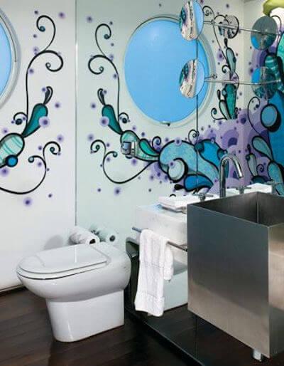 arte com grafite banheiro