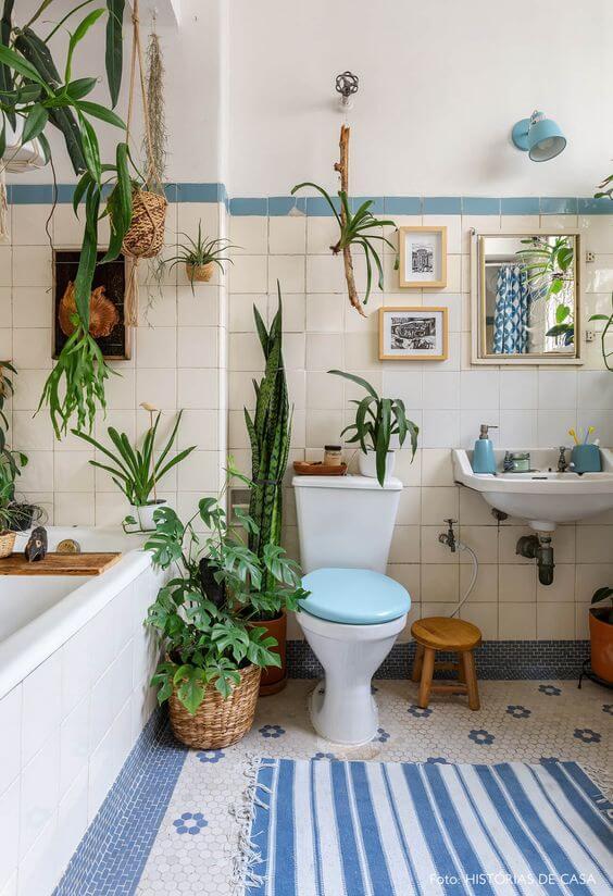 plantas no banheiro lavabo