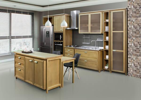 conjunto cozinha de madeira completo