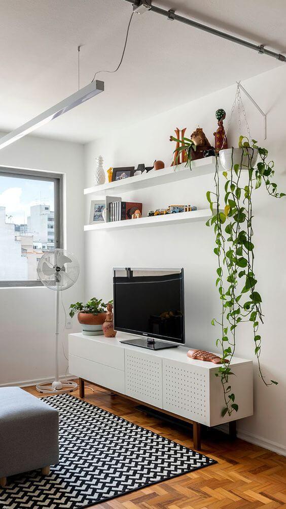 Decoração prateleiras com plantas
