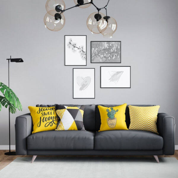 decoração amarelo e cinza