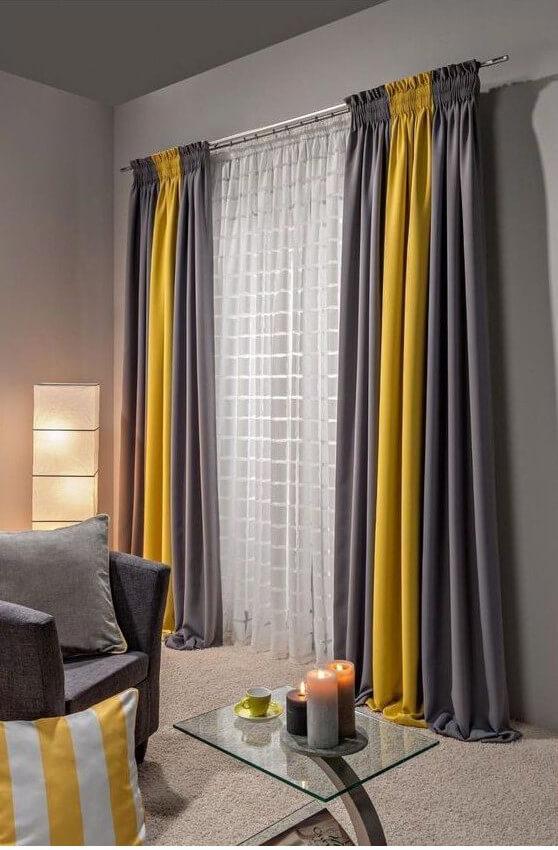 cortina cinza e amarela