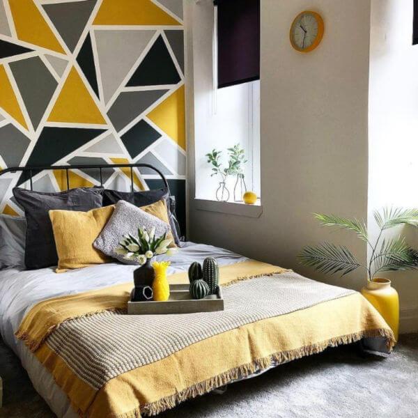 decoração quarto cinza e amarelo