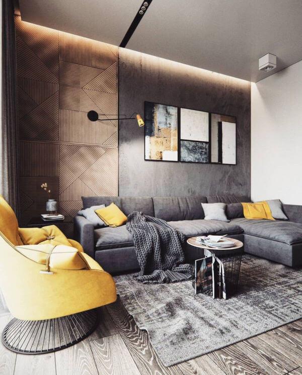 cores Ultimate Gray e Illuminating na sala