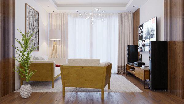 Sala de Estar com paleta neutra