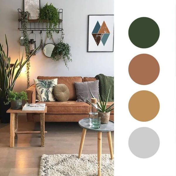 Sala de Estar com paleta de 4 cores