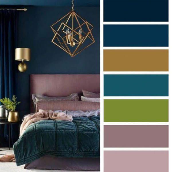 Quarto com paleta de cores colorida
