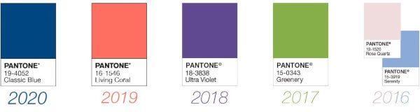 Cores Pantone nos últimos anos