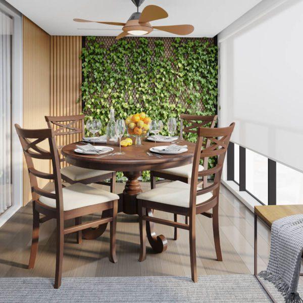 Conjunto mesa e cadeiras de madeira maciça